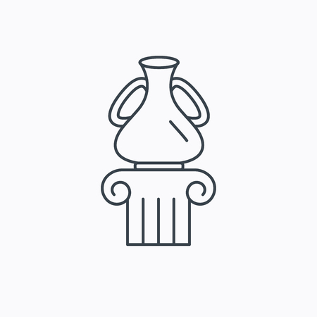 antique vase: Museum icon. Antique vase on pillar sign. Linear outline icon on white background. Vector Illustration