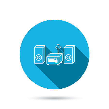 cd recorder: Music center icon. Stereo system sign. Blue flat circle button with shadow. Vector