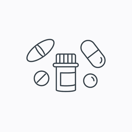 a tablet blister: Pills icon. Pharmacy bottle sign. Medical drugs symbol. Linear outline icon on white background. Vector