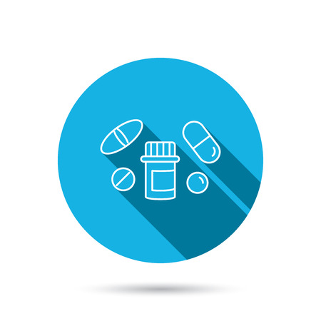 blue pills: Pills icon. Pharmacy bottle sign. Medical drugs symbol. Blue flat circle button with shadow. Vector Illustration