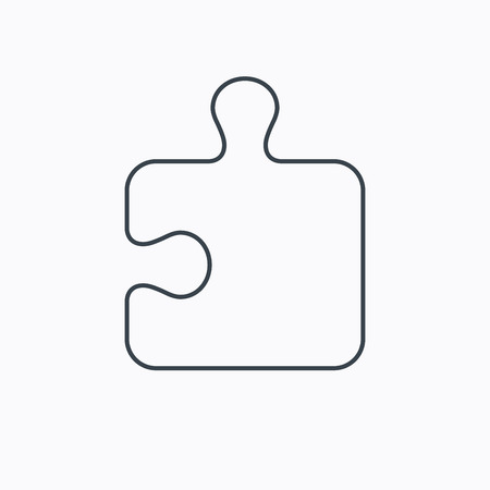 logical: Puzzle icon. Jigsaw logical game sign. Boardgame piece symbol. Linear outline icon on white background. Vector