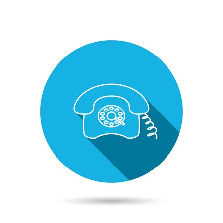 old phone: Retro phone icon. Old telephone sign. Blue flat circle button with shadow. Vector