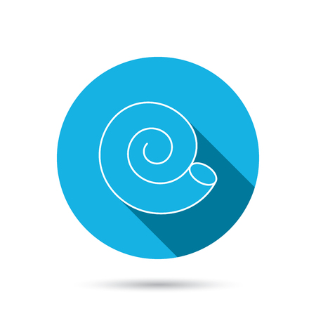 mollusk: Sea shell icon. Spiral seashell sign. Mollusk shell symbol. Blue flat circle button with shadow. Vector