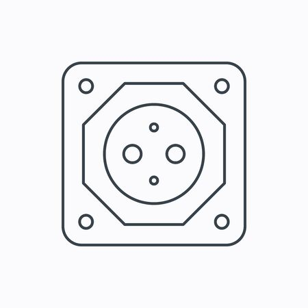 adapter: European socket icon. Electricity power adapter sign. Linear outline icon on white background. Vector