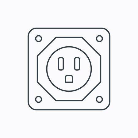 adapter: USA socket icon. Electricity power adapter sign. Linear outline icon on white background. Vector Illustration