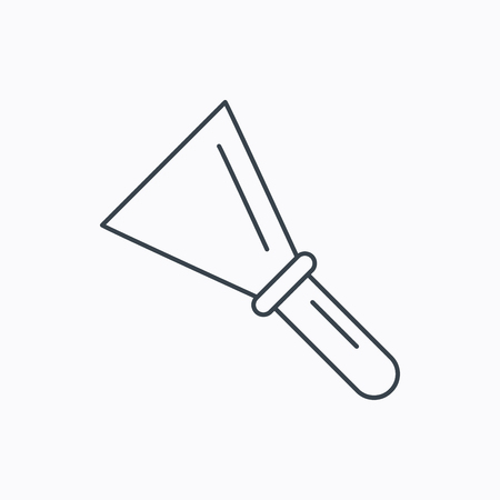 implement: Spatula icon. Finishing repair tool sign. Linear outline icon on white background. Vector