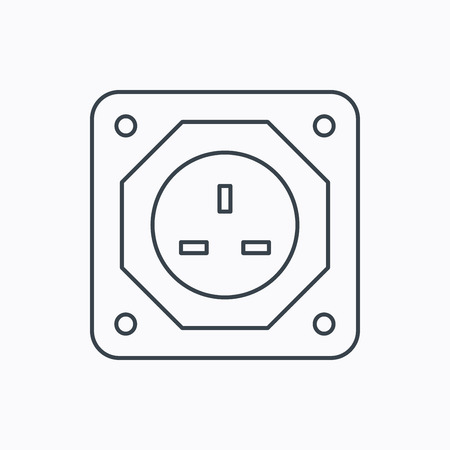 adapter: UK socket icon. Electricity power adapter sign. Linear outline icon on white background. Vector
