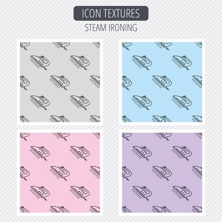 steam iron: Steam ironing icon. Iron housework tool sign. Diagonal lines texture. Seamless patterns set. Vector Illustration