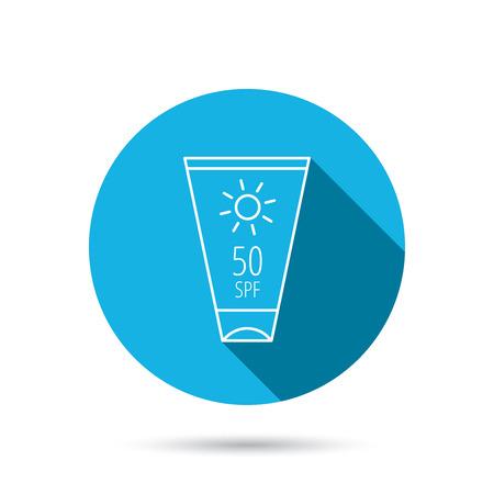 sun lotion: Dom icono de contenedor crema. Signo loci�n Beach. Bot�n azul c�rculo plano con la sombra. Vector