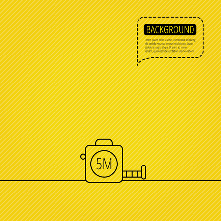 centimetre: Tape measurement icon. Roll ruler sign. Speech bubble of dotted line. Orange background. Vector