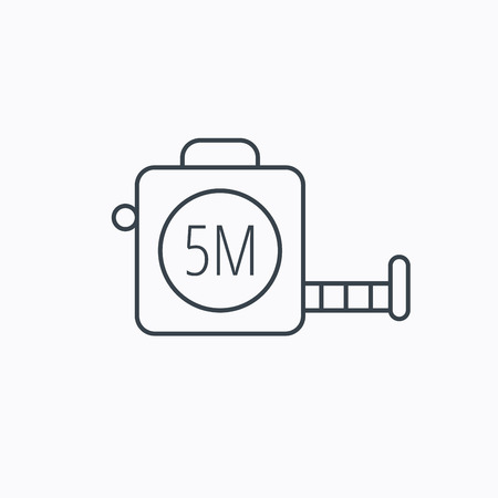 centimetre: Tape measurement icon. Roll ruler sign. Linear outline icon on white background. Vector