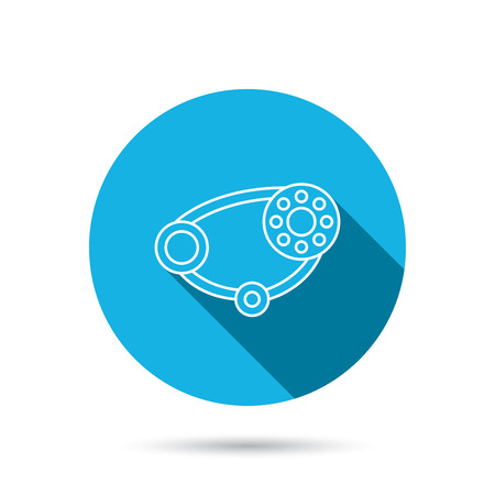 timing belt: Timing belt icon. Generator strap sign. Repair service symbol. Blue flat circle button with shadow. Vector