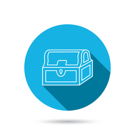 hoard: Treasure chest icon. Piratic treasury sign. Wealth symbol. Blue flat circle button with shadow. Vector