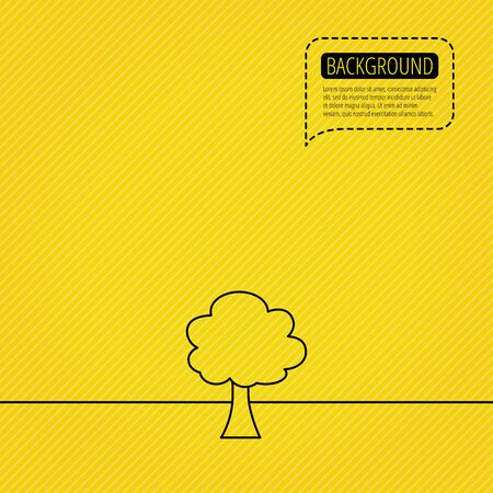 coma: Tree icon. Forest wood sign. Nature environment symbol. Speech bubble of dotted line. Orange background. Vector