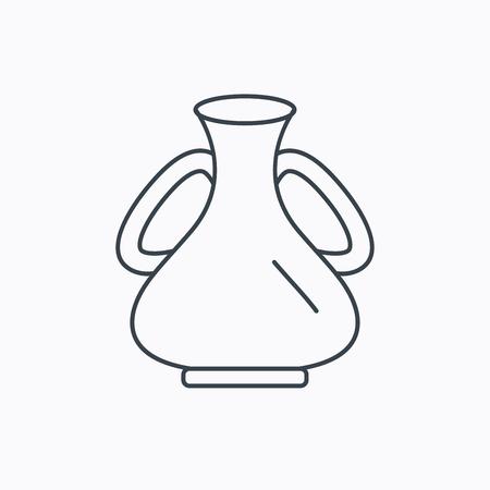 amphora: Vase icon. Decorative vintage amphora sign. Linear outline icon on white background. Vector