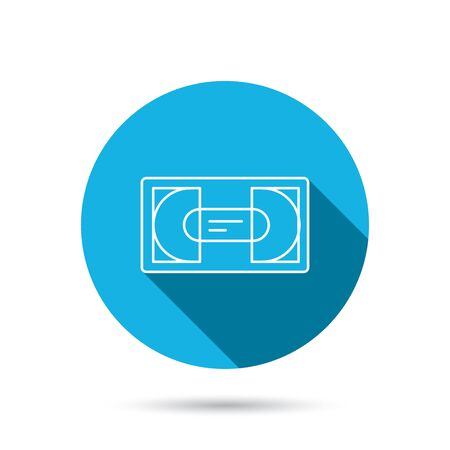 vcr: Video cassette icon. VHS tape sign. Blue flat circle button with shadow. Vector Illustration