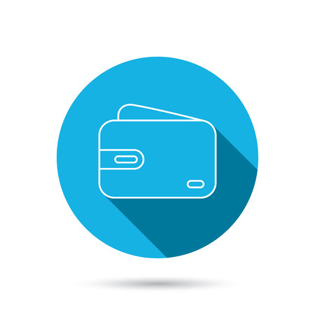 cash money: Wallet icon. Cash money bag sign. Blue flat circle button with shadow. Vector