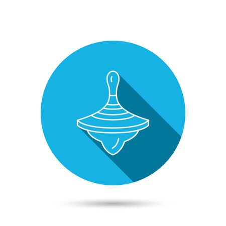 spinning top: Whirligig icon. Baby toy sign. Spinning top symbol. Blue flat circle button with shadow. Vector Illustration