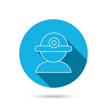 Worker icon. Engineering helmet sign. Blue flat circle button with shadow. Vector