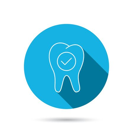 stomatology: Check tooth icon. Stomatology sign. Dental care symbol. Blue flat circle button with shadow. Vector