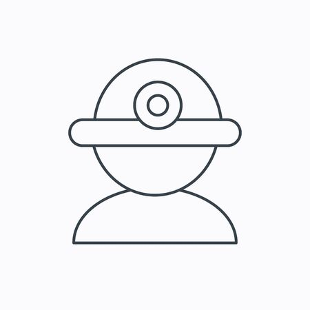 industrialist: Worker icon. Engineering helmet sign. Linear outline icon on white background. Vector