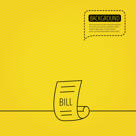 pay bill: Bill icon. Pay document sign. Business invoice or receipt symbol. Speech bubble of dotted line. Orange background. Vector Illustration