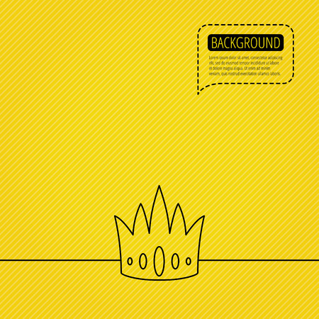 vip symbol: Crown icon. Royal king hat sign. VIP symbol. Speech bubble of dotted line. Orange background. Vector
