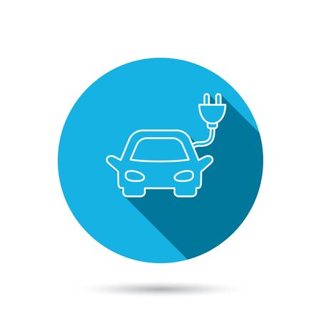 hybrid: Electric car icon. Hybrid auto transport sign. Blue flat circle button with shadow. Vector Illustration