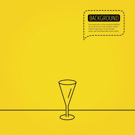 champagne orange: Champagne glass icon. Goblet sign. Alcohol drink symbol. Speech bubble of dotted line. Orange background. Vector