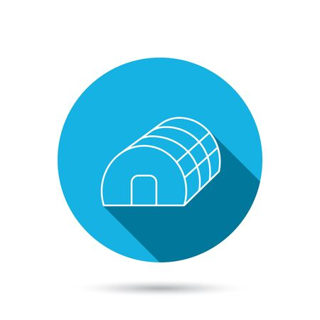 warm house: Greenhouse complex icon. Hothouse building sign. Warm house symbol. Blue flat circle button with shadow. Vector