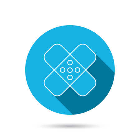 aching: Medical plaster icon. Injury fix sign. Blue flat circle button with shadow. Vector