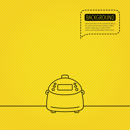 dotted line: Multicooker icon. Kitchen electric device symbol. Speech bubble of dotted line. Orange background. Vector