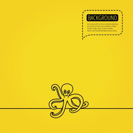 dotted line: Octopus icon. Ocean devilfish sign. Speech bubble of dotted line. Orange background. Vector