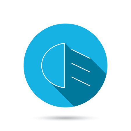 dazzle: Passing light icon. Dipped beam sign. Blue flat circle button with shadow. Vector