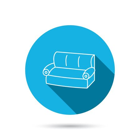 comfortable: Sofa icon. Comfortable couch sign. Furniture symbol. Blue flat circle button with shadow. Vector