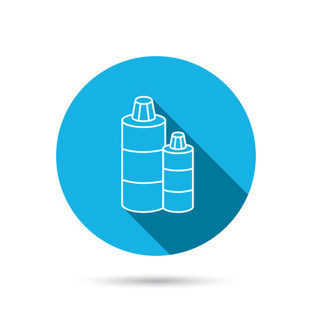 shampoo bottles: Shampoo bottles icon. Liquid soap sign. Blue flat circle button with shadow. Vector Illustration