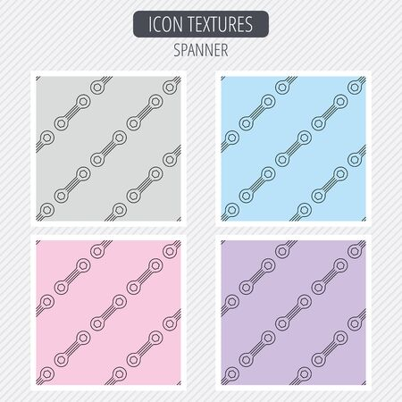 repairing: Spanner tool icon. Repairing service sign. Diagonal lines texture. Seamless patterns set. Vector Illustration
