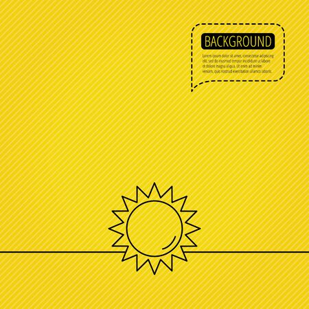 dotted line: Sun rays icon. Summer sign. Hot weather symbol. Speech bubble of dotted line. Orange background. Vector