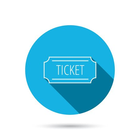 coupon sign: Ticket icon. Coupon sign. Blue flat circle button with shadow. Vector Illustration
