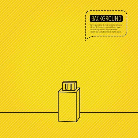 usb drive: USB drive icon. Flash stick sign. Mobile data storage symbol. Speech bubble of dotted line. Orange background. Vector