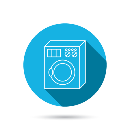 washer machine: Washing machine icon. Washer sign. Blue flat circle button with shadow. Vector
