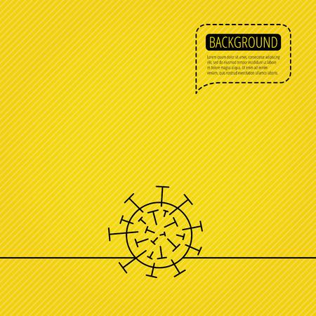 virus icon: Virus icon. Molecular cell sign. Biology organism symbol. Speech bubble of dotted line. Orange background. Vector Illustration