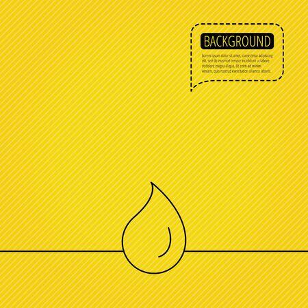 frescura: Icono de la gota de agua. Signo Líquido. Frescura, condensación o símbolo de lavado. Burbuja del discurso de la línea de puntos. Fondo anaranjado. Vector