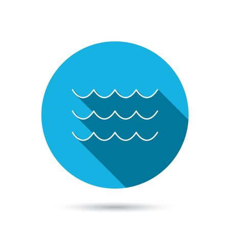 sea water: Waves icon. Sea flowing sign. Water symbol. Blue flat circle button with shadow. Vector
