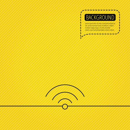 wireless network: Wifi icon. Wireless wi-fi network sign. Internet symbol. Speech bubble of dotted line. Orange background. Vector