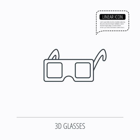 freetime: 3D glasses icon. Cinema technology sign. Vision effect symbol. Linear outline icon. Speech bubble of dotted line. Vector