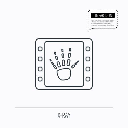radiological: Hand X-ray icon. Human skeleton sign. Linear outline icon. Speech bubble of dotted line. Vector Illustration