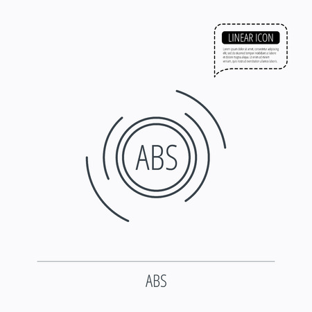 malfunction: ABS icon. Brakes antilock system sign. Linear outline icon. Speech bubble of dotted line. Vector