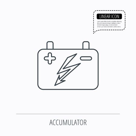 emitter: Accumulator icon. Electrical battery sign. Linear outline icon. Speech bubble of dotted line. Vector