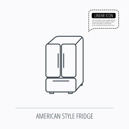 frig: American fridge icon. Refrigerator sign. Linear outline icon. Speech bubble of dotted line. Vector